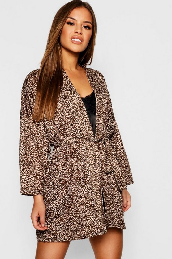 Womens Brown Petite Leopard Print Robe
