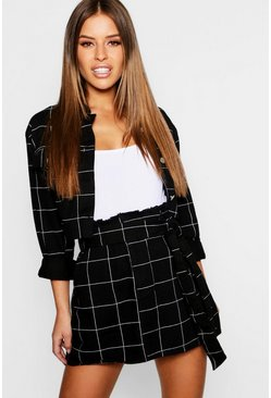 Womens Black Petite Grid Check Paper Bag Denim Skirt