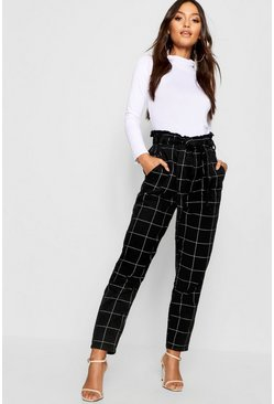 Womens Black Petite Grid Check Paper Bag Straight Leg Jean