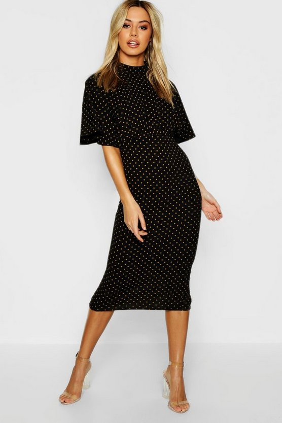 Petite High Neck Polka Dot Midi Dress