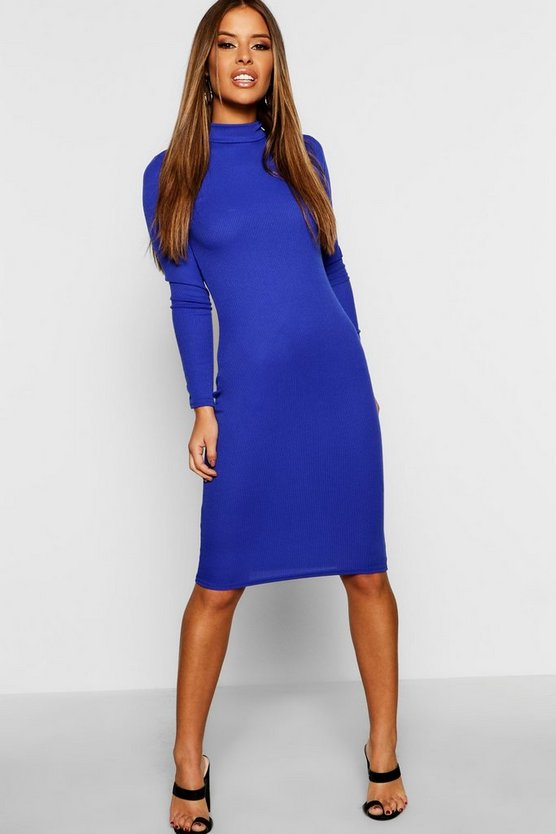 Petite High Neck Ribbed Midi Dress