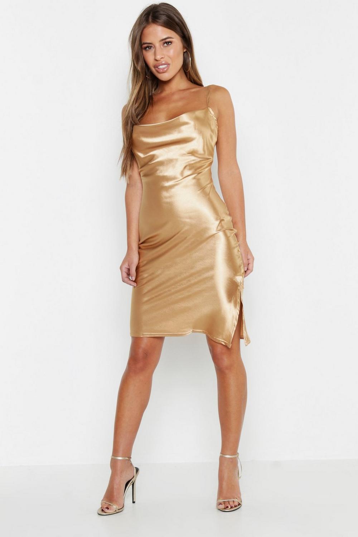 3b6b36a69c48 Womens Champagne Petite Satin Cowl Neck Midi Slip Dress. Hover to zoom