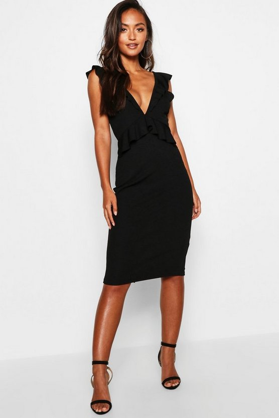 Black Petite Tie Back Frill Detail Midi Dress