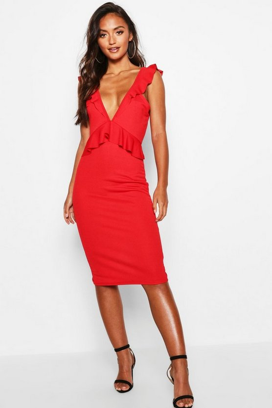 Petite Tie Back Frill Detail Midi Dress