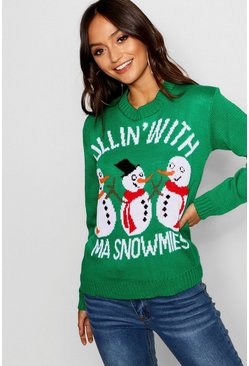 Womens Green Petite Snowman Slogan Christmas Jumper