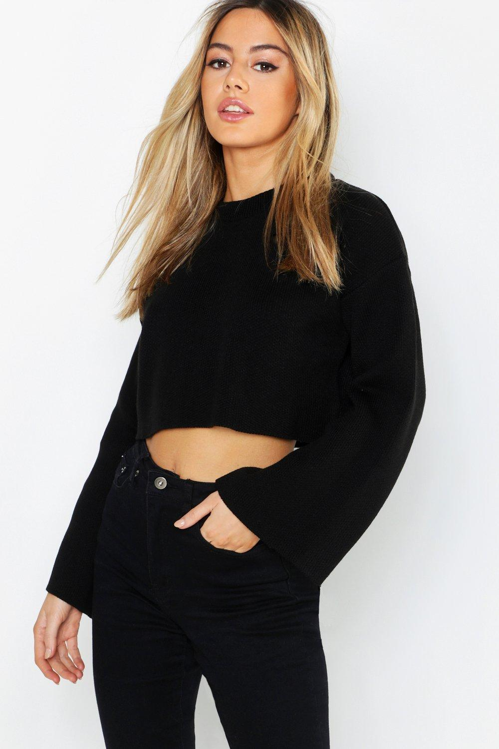 Petite Flare Sleeve Cropped Jumper