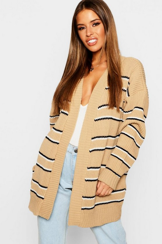Womens Camel Petite Stripe Oversized Cardigan