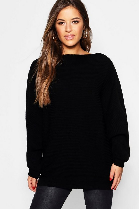 Womens Black Petite Oversized Rib Batwing Jumper
