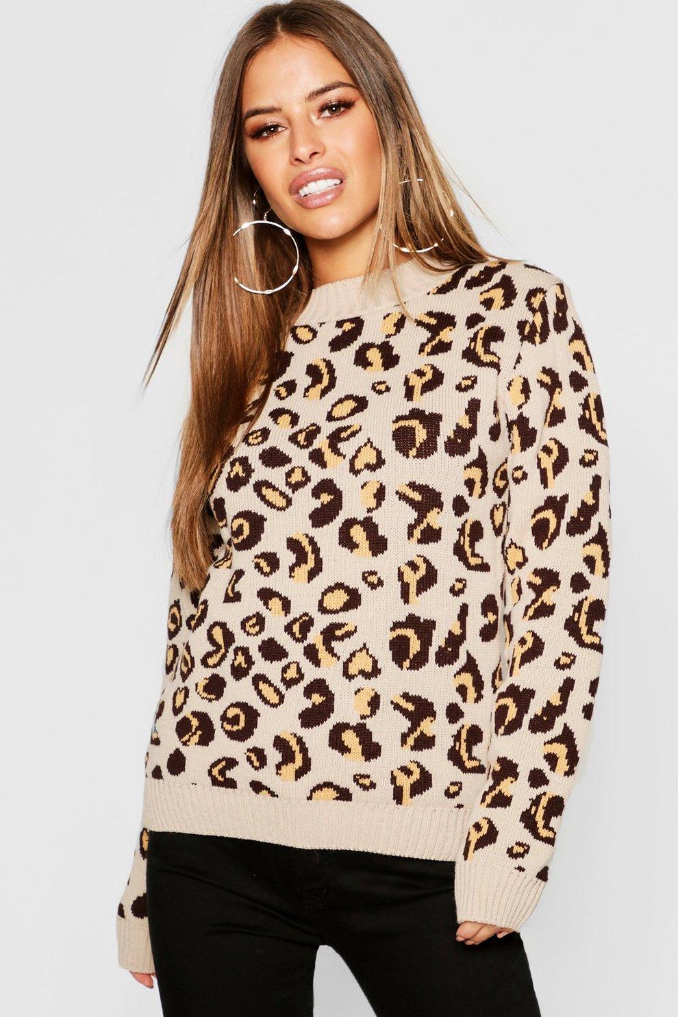 Petite Leopard Print Oversized Sweater  c461e4518