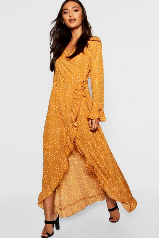 Petite Wrap Print Midi Dress