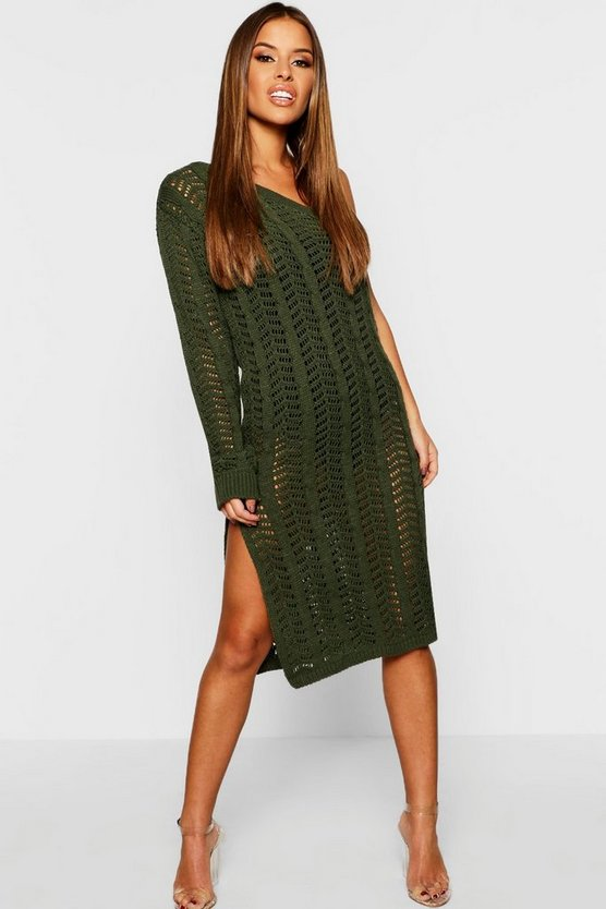 Petite One Shoulder Knitted Dress