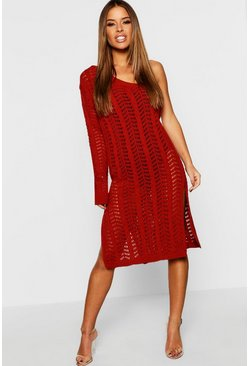 Womens Rust Petite One Shoulder Knitted Dress