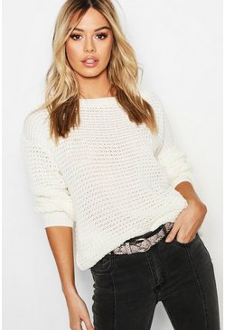 Womens Cream Petite Off The Shoulder Waffle Knit Jumper