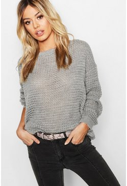 Womens Grey Petite Off The Shoulder Waffle Knit Jumper