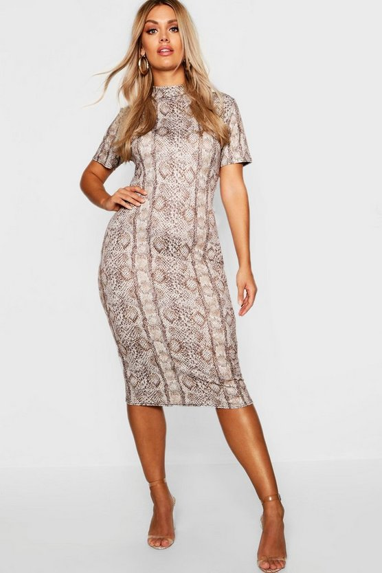 Plus High Neck Cap Sleeve Snake Midi Dress
