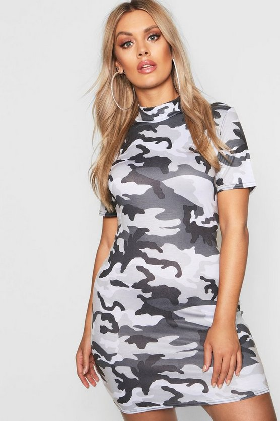 Womens Grey Plus High Neck Cap Sleeve Camo Mini Dress