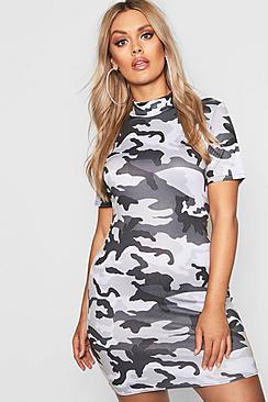 Plus High Neck Cap Sleeve Camo Mini Dress