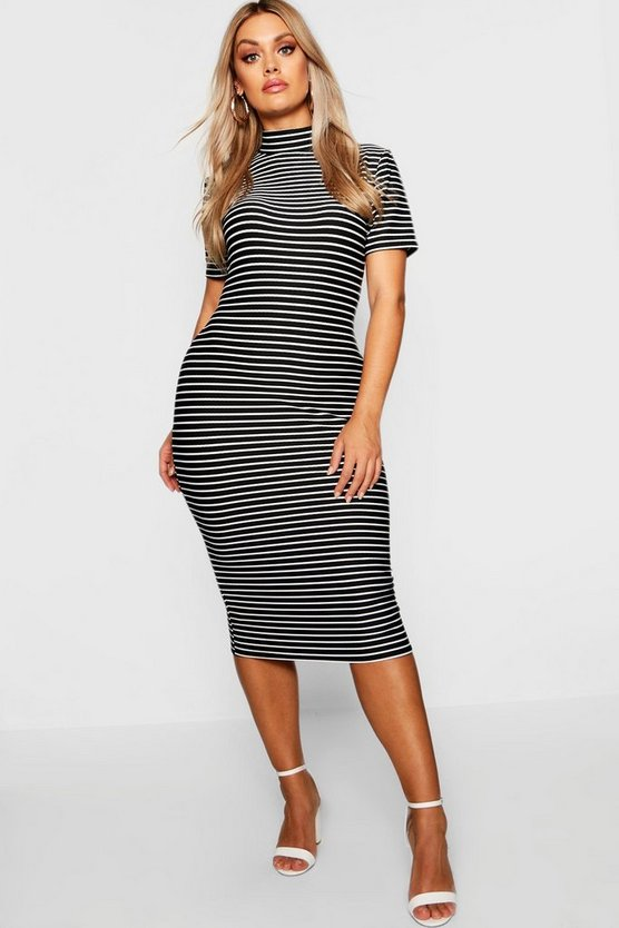 Plus High Neck Cap Sleeve Ribbed Stripe Midi Dress