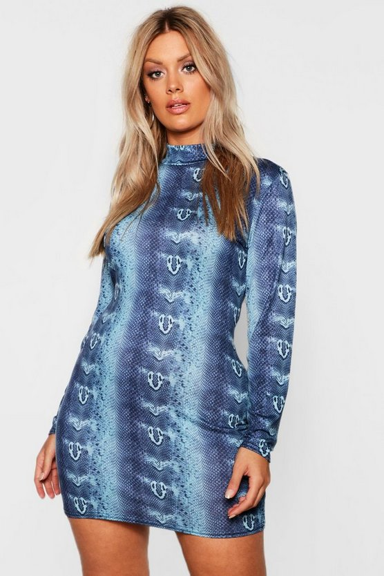 Plus High Neck Long Sleeve Snake Print Mini Dress