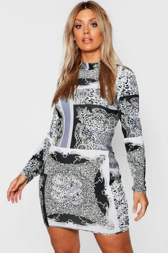 Womens Black Plus High Neck Long Sleeve Chain Print Mini Dress