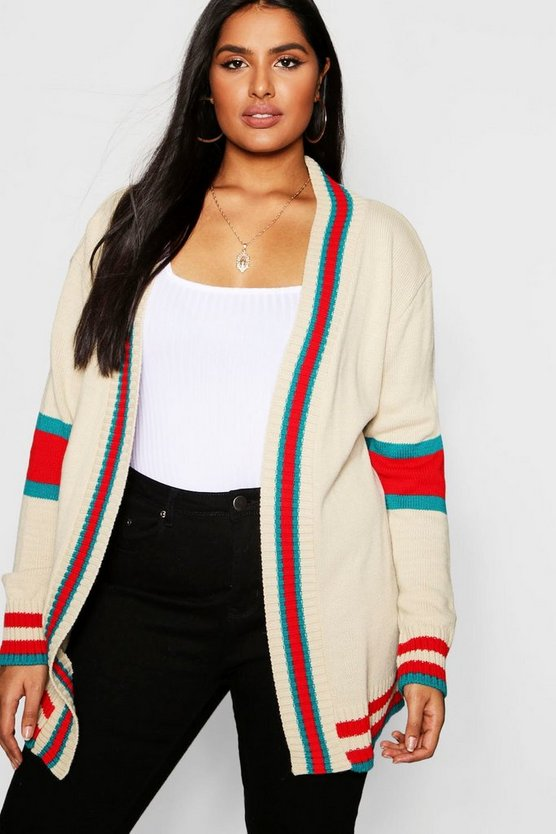 Womens Stone Plus Contrast Stripe Cardigan