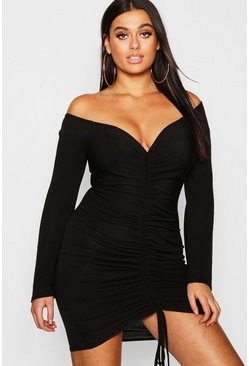 Dam Black Plus Ruched Bardot Knitted Bodycon Dress