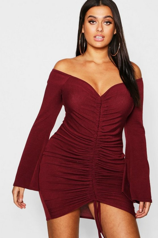 Womens Burgundy Plus Ruched Bardot Knitted Bodycon Dress