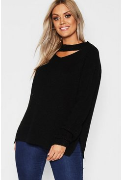 Dam Black Plus Choker Side Split Jumper
