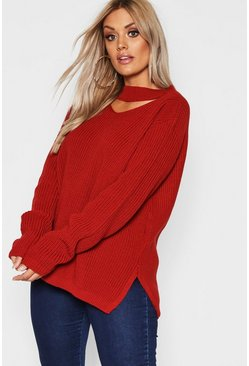 Pullover con choker e spacchi laterali Plus, Ruggine, Femmina