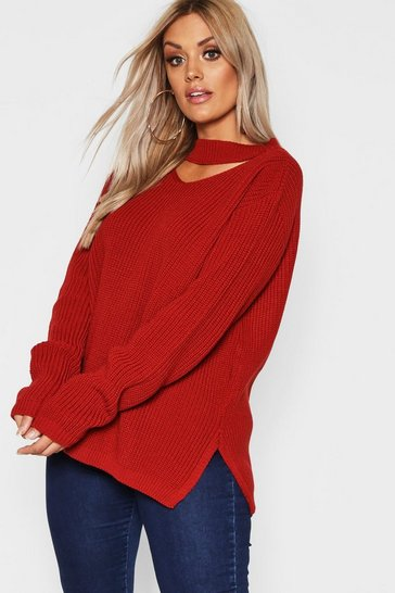 Womens Rust Plus Choker Side Split Jumper