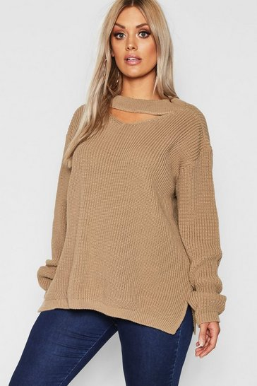 Womens Taupe Plus Choker Side Split Jumper