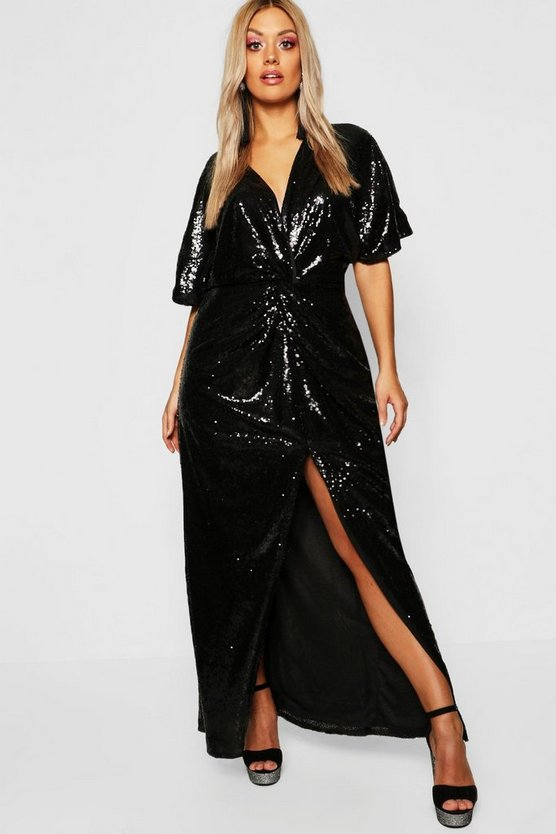 Womens Black Gemma Collins Kimono Twist Sequin Maxi Dress