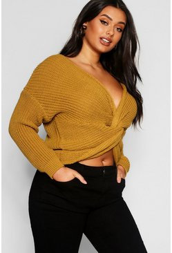 Womens Mustard Plus Knot Front Jumper