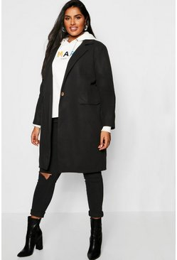 Womens Black Plus Wool Trench Coat
