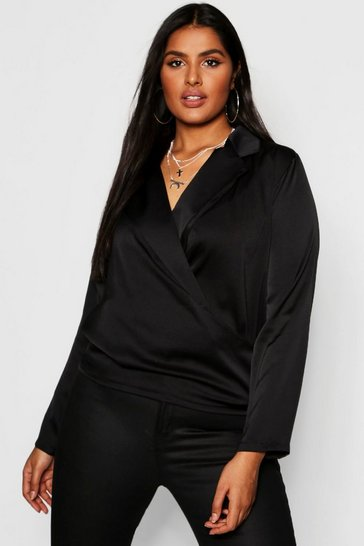 Womens Plus Satin Wrap Front Blouse