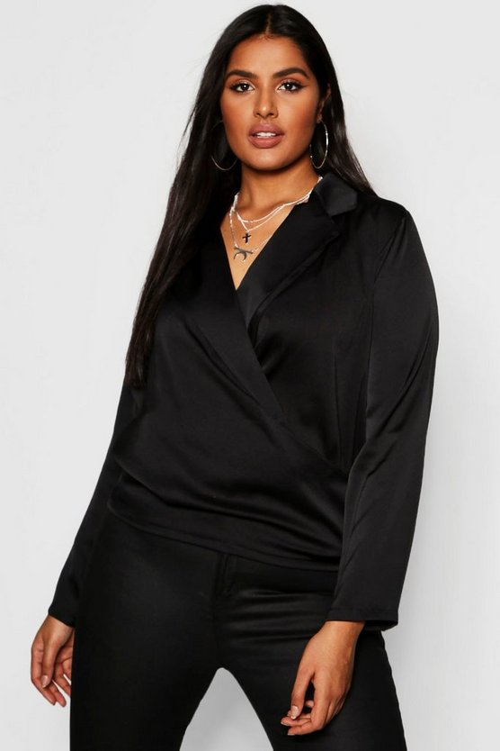 Womens Black Plus Satin Wrap Front Blouse