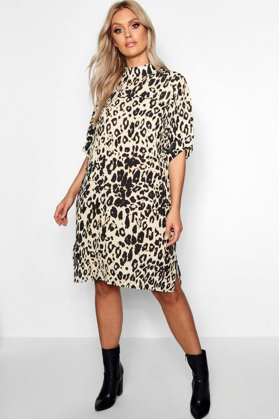 Womens Beige Plus Leopard High Neck Shift Dress