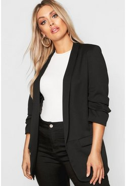 Womens Black Plus Ruched Sleeve Blazer