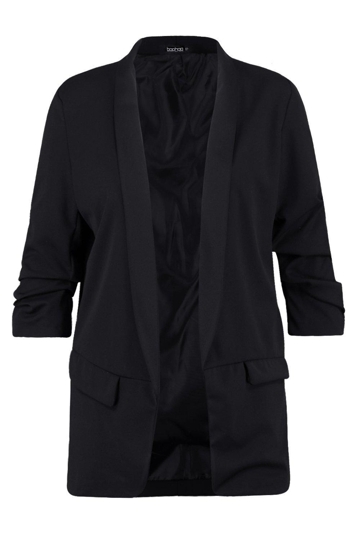 black Ruched Sleeve Blazer Plus Ruched Plus XSYqRnBv