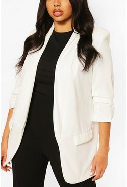 Ivory Plus Ruched Sleeve Blazer