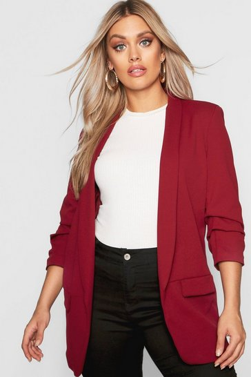 Wine Plus Ruched Sleeve Blazer