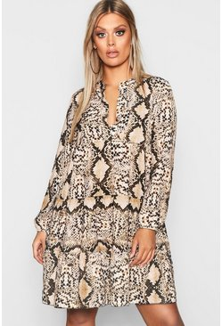 Womens Brown Plus Snake Smock Dress