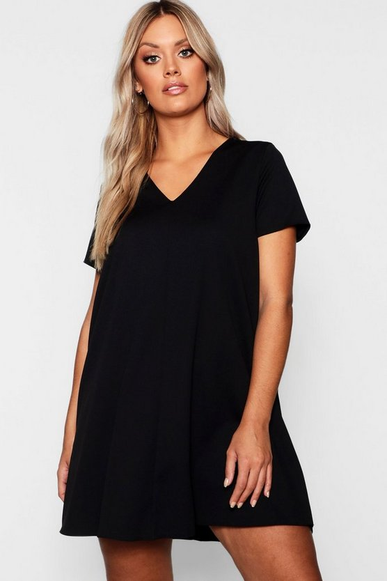 Plus V Neck Shift Dress
