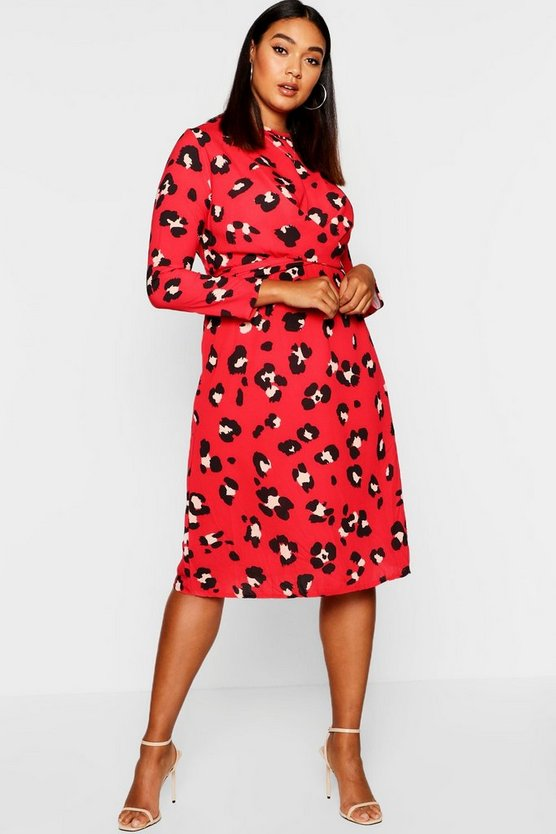 Womens Red Plus Leopard Print Tie Front Midi Dress