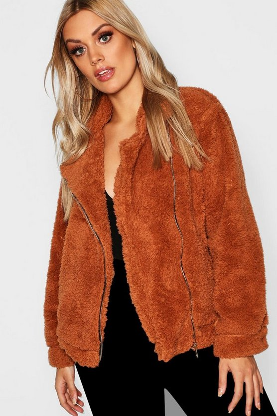 Plus Faux Fur Oversized Teddy Aviator