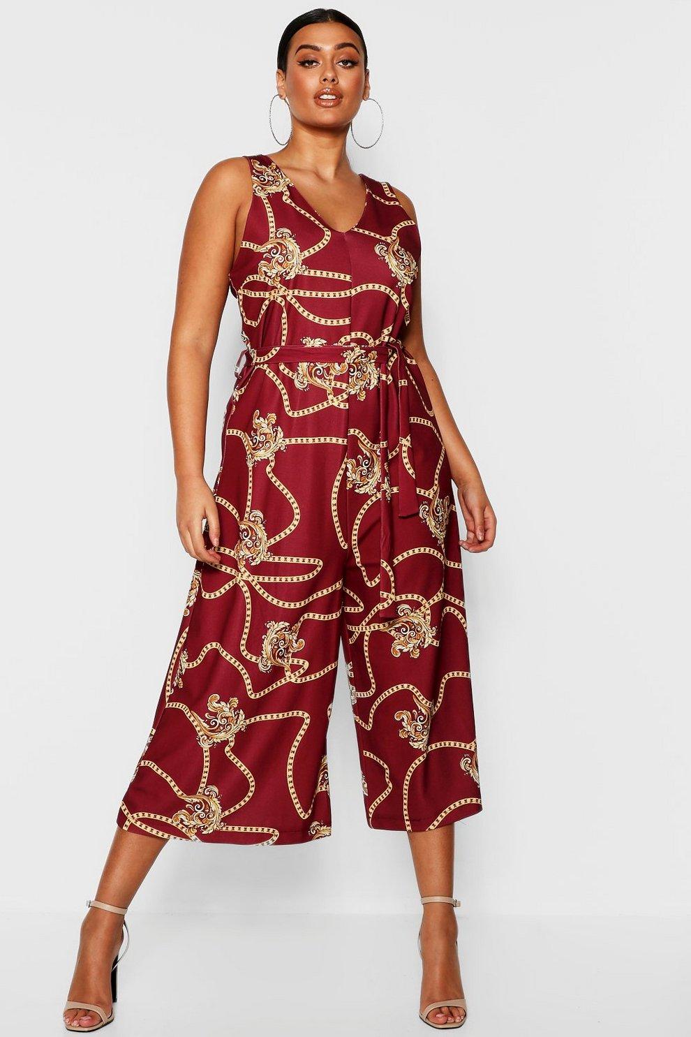 fcee6b57b93 Plus Chain Printed Culotte Jumpsuit
