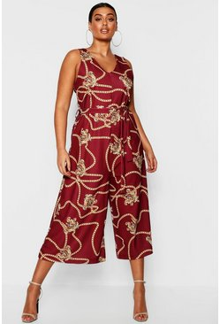 Womens Berry Plus Chain Printed Culotte Jumpsuit