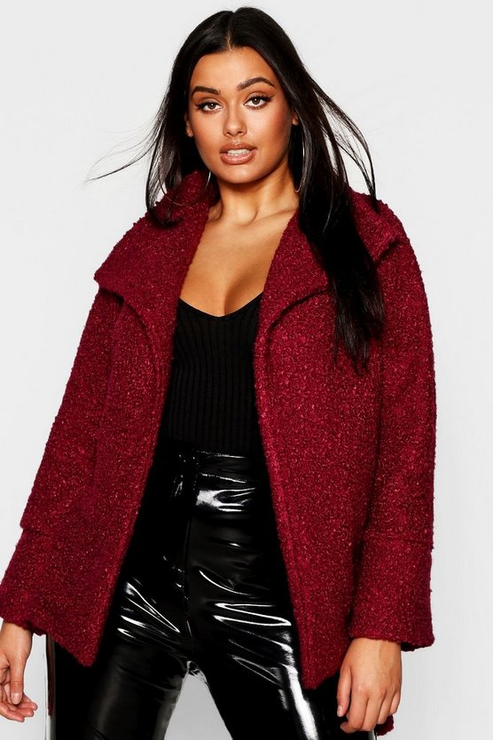 Wine Plus Twisted Wool Look Belted Coat