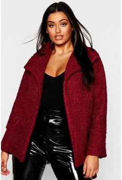 Womens Wine Plus Twisted Wool Look Belted Coat