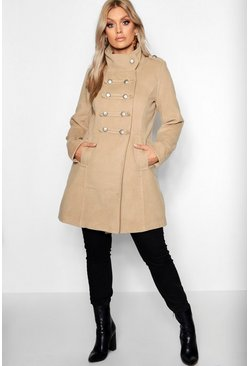 Womens Camel Plus Military Wool Look Coat